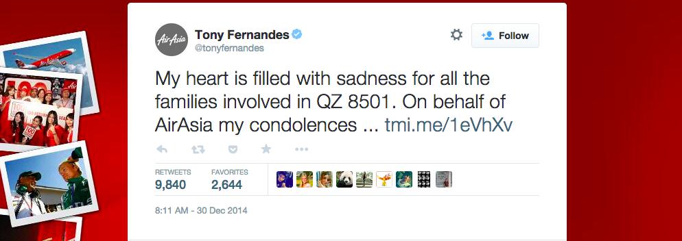 Tony Fernandes tweet