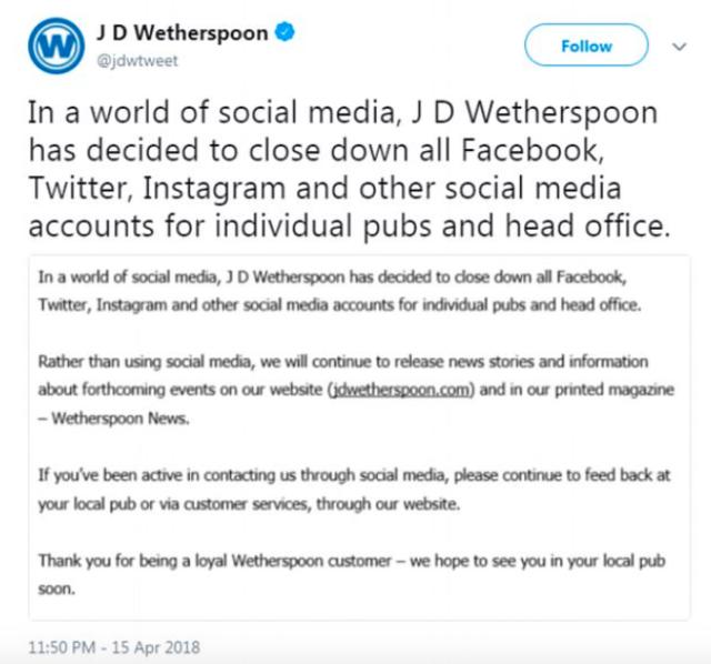 Wetherspoons final tweet
