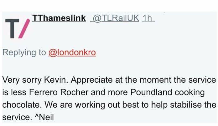 Thameslink tweet referencing Poundland