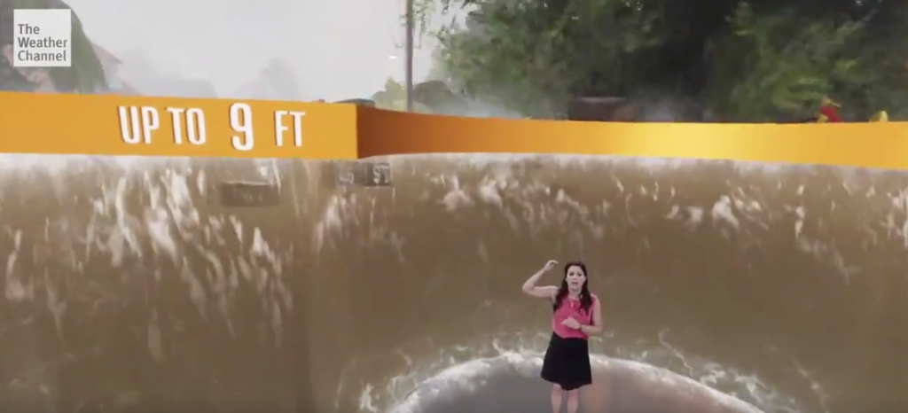 Weather Channel forecaster in front of animation of storm